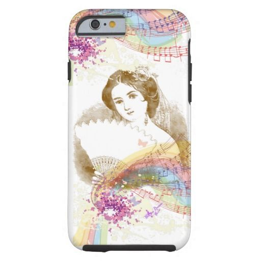 Vintage Fan Lady MusicColorSplash iPhone6ToughCase by #MoonDreamsMusic #VintageLady #fan #iphone6 #ToughCase #victorian