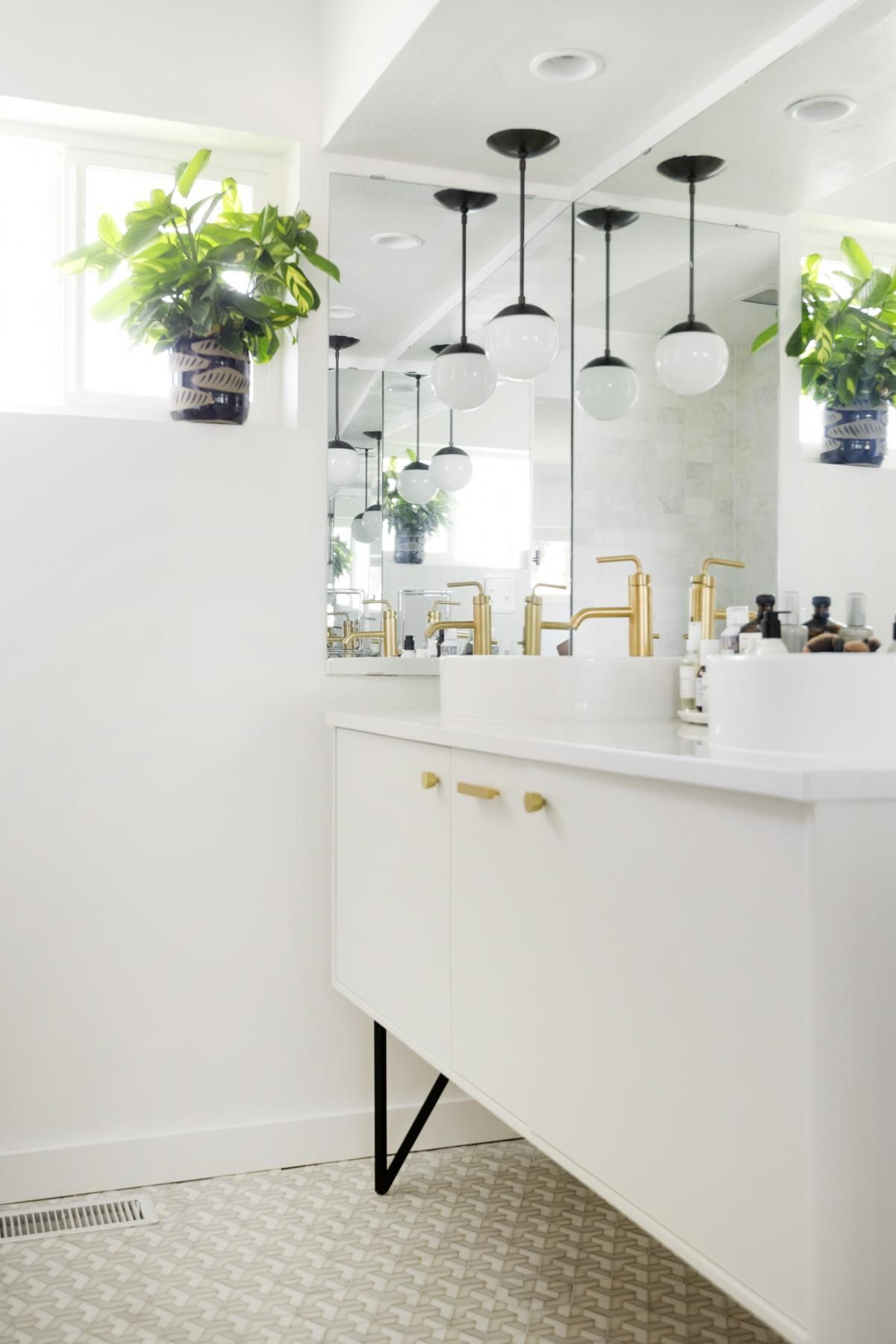 Jute vanity // Grove's Bathroom Renovation via Simply