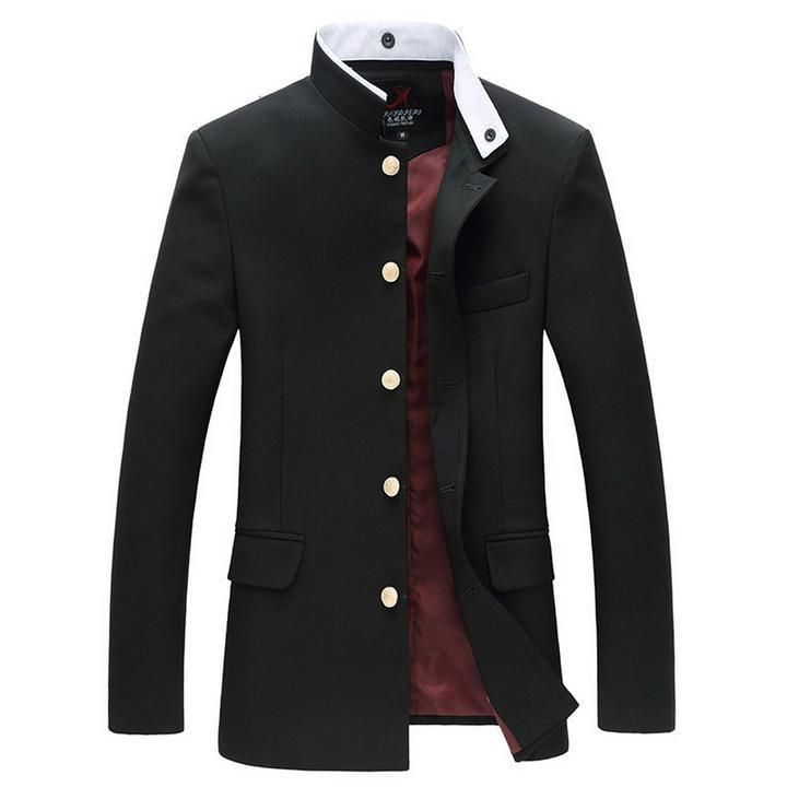 7ee80b7e2a6 Men Slim Tunic Jacket Single Breasted Blazer Japanese School Uniform  Gakuran