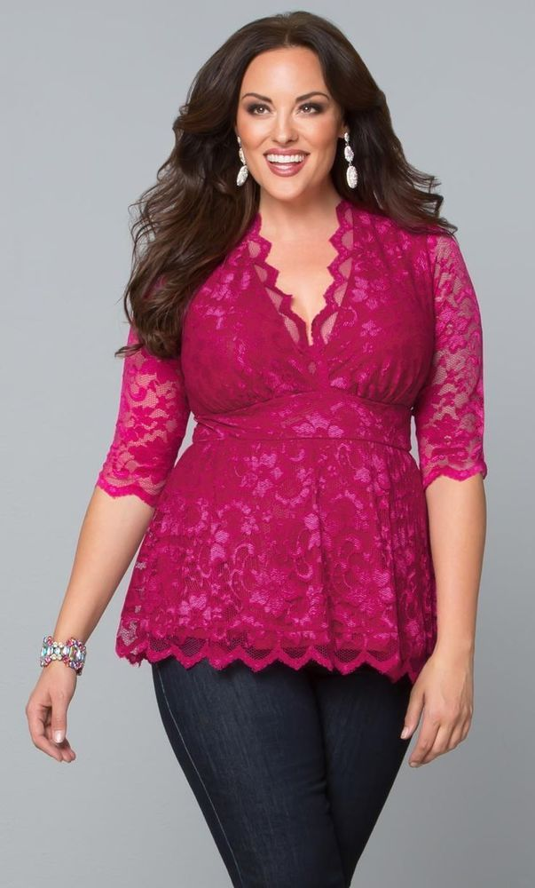 hot pink plus size lace top with empire waist is just a