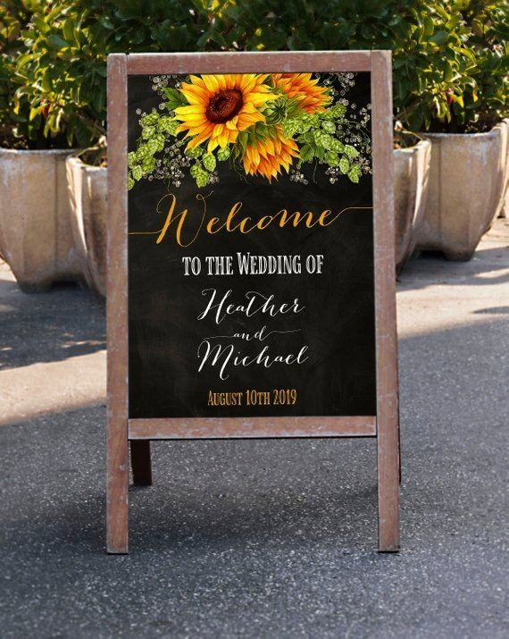 Wedding Sign Sunflowers Chalkboard Welcome Sign Personalized Custom Rustic Sign Summer Country Fall Wedding SignchalkboardWelcome Wedding Sign Sunflowers Chalkboard Welco...