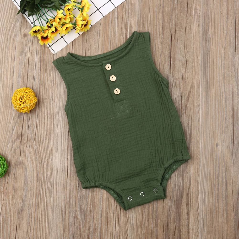 0 24m Newborn Cotton Linen Romper Baby Boy Girl Sleeveless Outfit Wearlooks Cotton Bodysuit Linen Romper Baby Outfits Newborn
