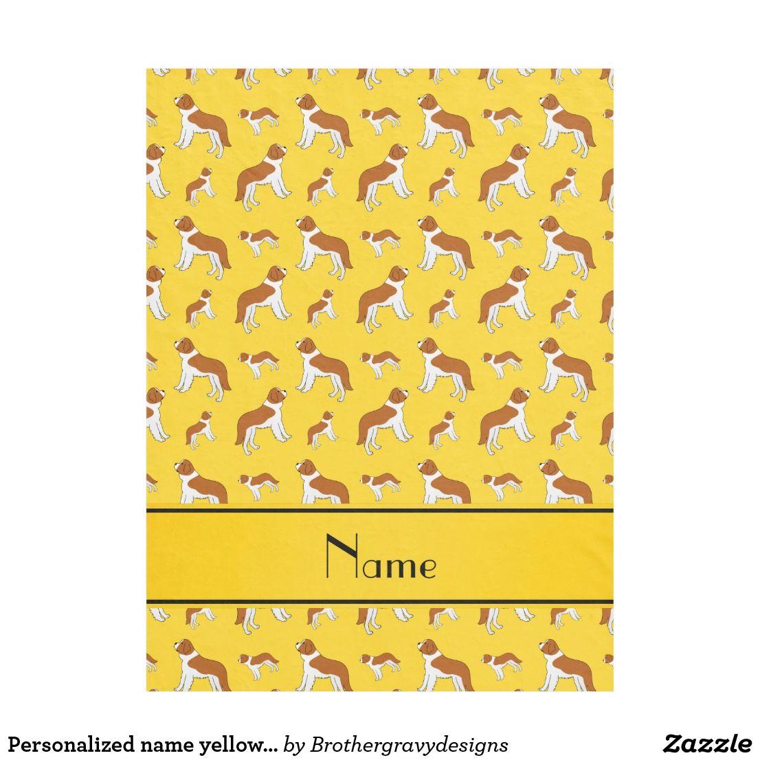 personalized name yellow st bernard dogs fleece blanket fleece