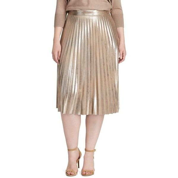 b88d6523ba Plus Size Chaps Metallic Faux-Suede Pleated Skirt ($43) ❤ liked on Polyvore  featuring skirts, gold, plus size, metallic pleated skirt, straight skirt,  ...