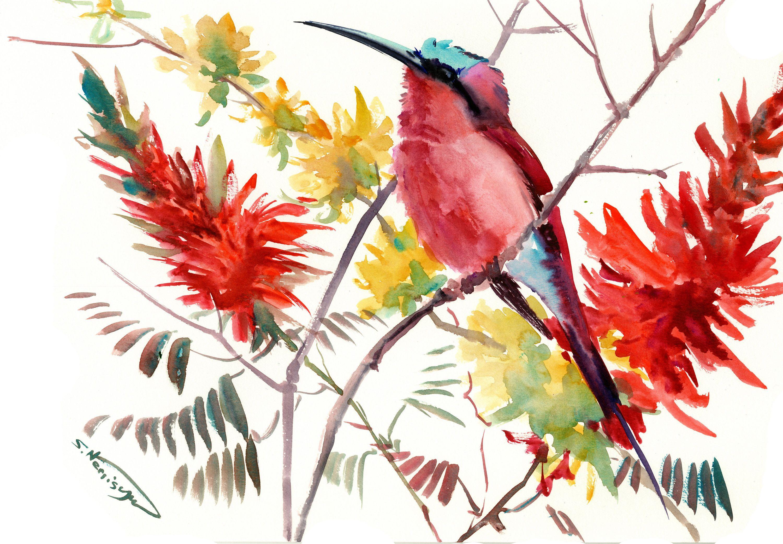 Pink Red Bird Artwork Birds And Flowers Bee Eater Bird Art