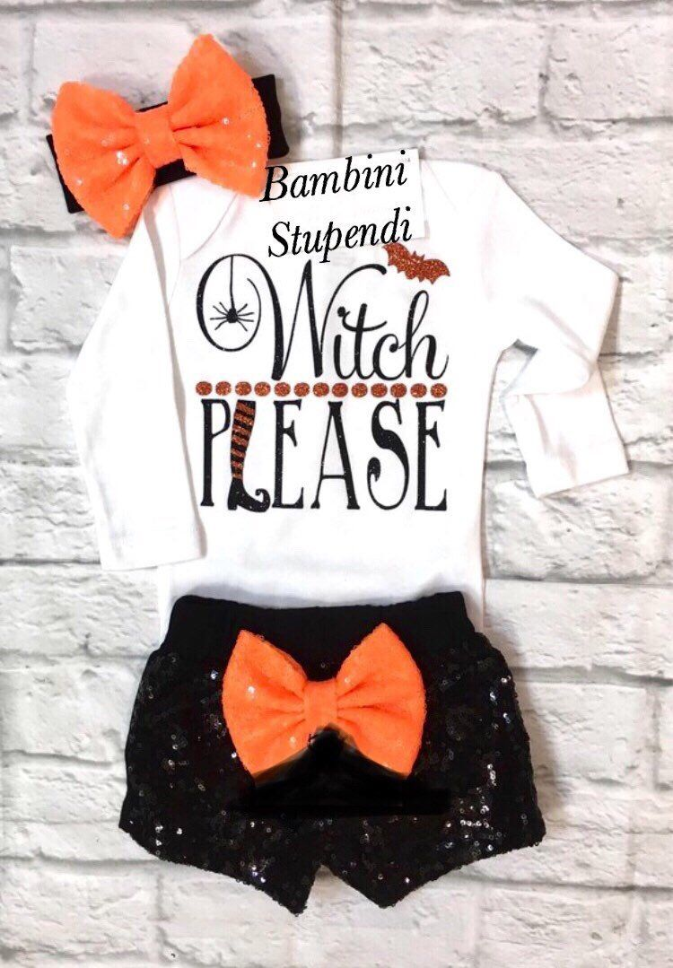 6f396dbb Excited to share this item from my #etsy shop: Girls Halloween Outfit, Baby  Girl Clothes, Witch Please Bodysuit, Halloween Bodysuit, Witch Please  Shirt, ...