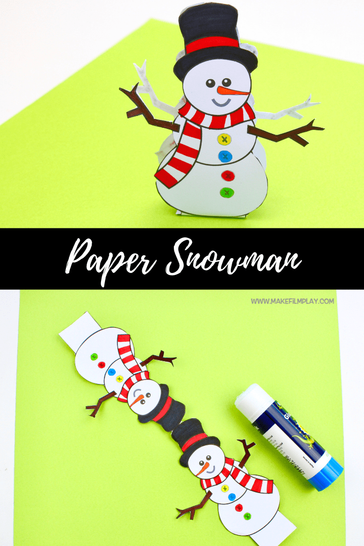 Paper Snowman free template Winter spring