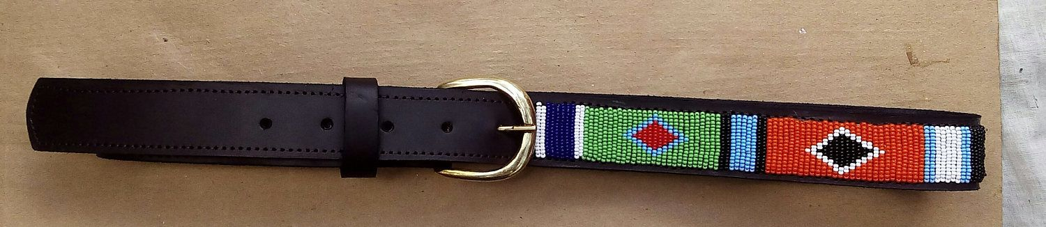 A mid year sale Green Masai beaded leather belt, African