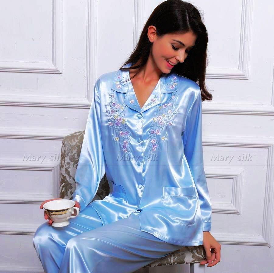 Frauen seide satin-pyjama set pyjama pjs gesetzt nachtwäsche set ...
