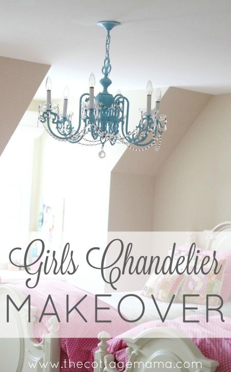 Girls chandelier makeover this is so cute from the cottage mama girls chandelier makeover this is so cute from the cottage mama aloadofball Images