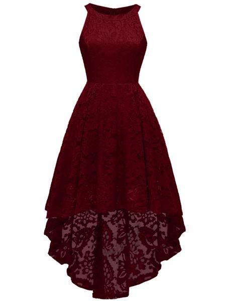 LaceShe Women's Halter Floral Hi-Lo Lace Dress #schooldancedresses