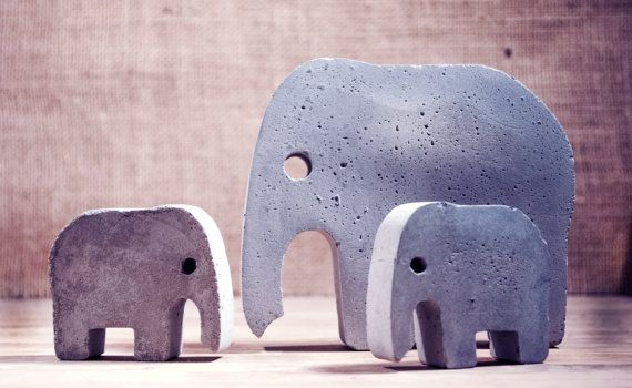 FREE shipping. Concrete Elephants. Try them on a dresser :) #elephantitems
