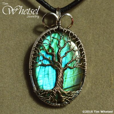 Labradorite - wire wrapped tree of life sterling silver pendant ...