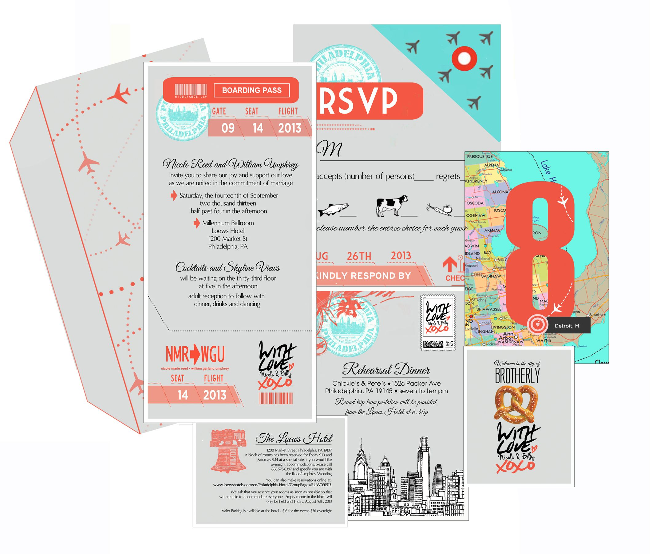 complete travel themed wedding invitation invite rsvp card
