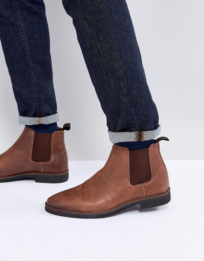 ASOS Chelsea Boots In Leather With Contrast Sole