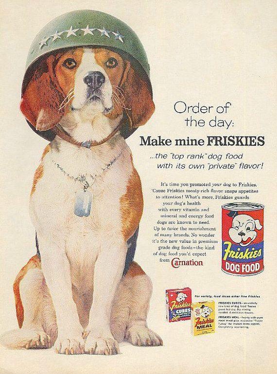 Beagle Army Dog Art Ad Friskies Vintage By Stillsoftime On Etsy