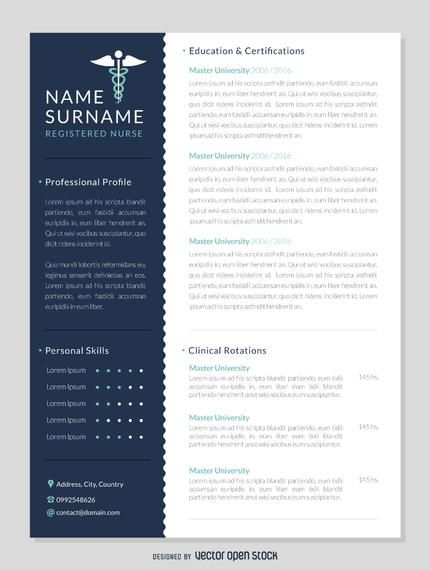 Professional registered nurse curriculum template featuring space - contact details template