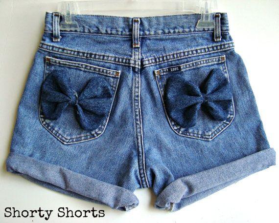 edfe878e03 bow down. High Waisted Denim Shorts Bow Shorts Custom Made Denim Jean  Shorts Tumblr Hipster. $50.00, via Etsy.