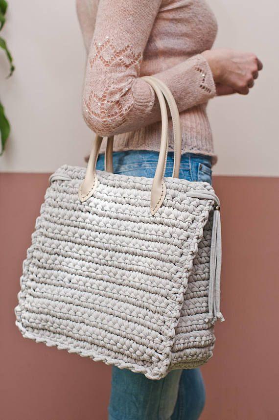 Big nude bag for work Shopper bag Boho big bag Elegant bag Tote bag ...
