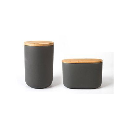 George Home Grey Ceramic Canister Set With Bamboo Lid Kitchen 2 0