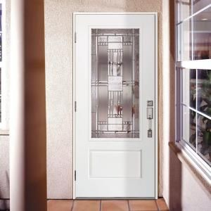Preston Zinc 3 4 Lite Primed Smooth Fiberglass Impact Entry Door 542851 At The Home Depot House Design Entry Doors Tall Cabinet Storage
