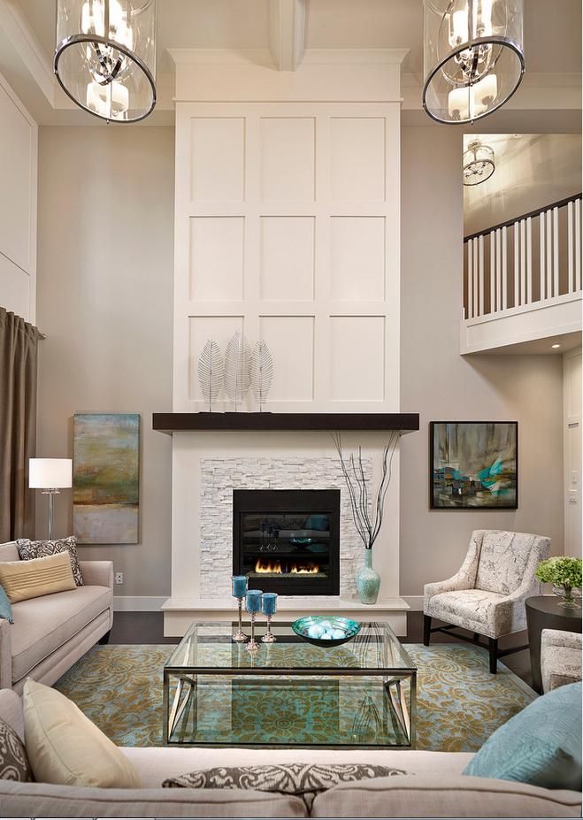 客廳 壁爐 挑高 Transitional Living Rooms Home Fireplace