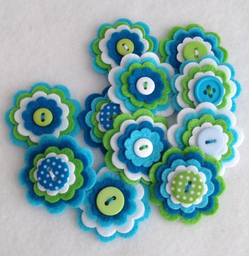 Children/'s Crafts Floral Decoration Flowers for Craft and Art Projects Fabric Flower Embellishments Felt Flower Shapes Multicolor
