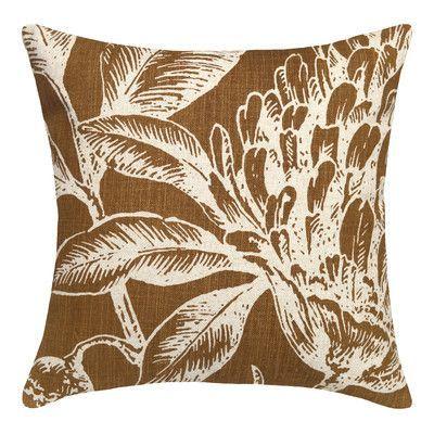 Bay Isle Home Jasiah Coral Botanical Linen Throw Pillow Throw Pillows Linen Throw Pillow Pillows