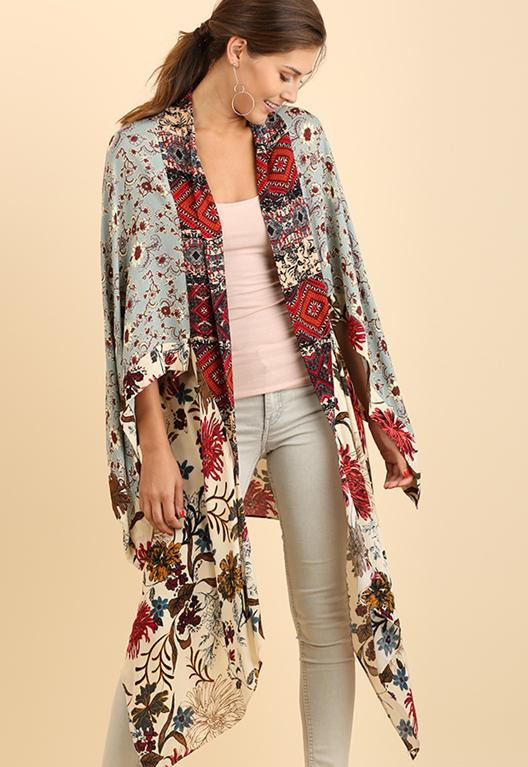 5356eddb005 Umgee Mixed Print Tall Long Kimono - Vanilla