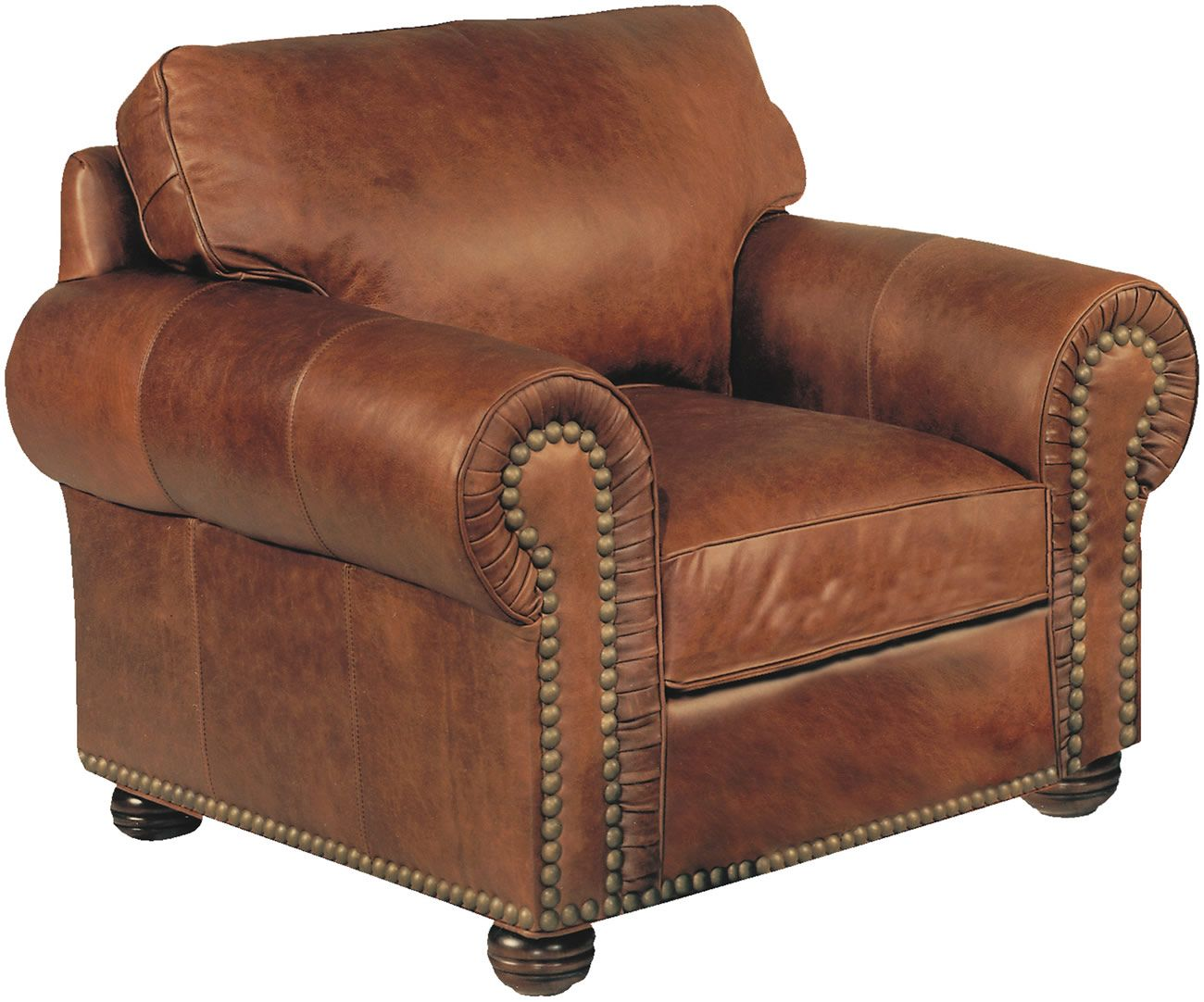 nailhead trim leather sofa set brown colour schemes stickley hutchinson chair with