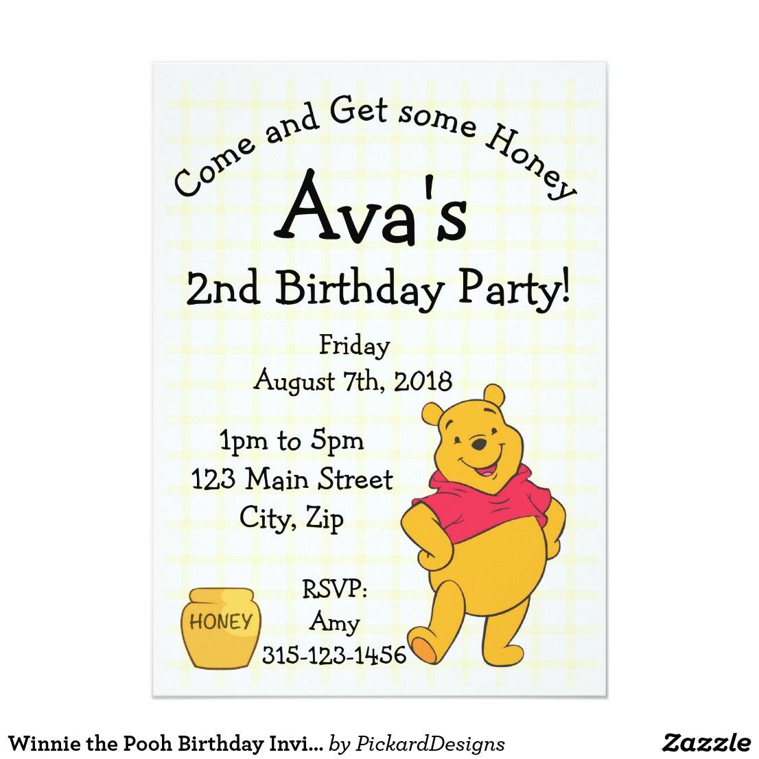 Winnie the Pooh Birthday Invitation card | Kids 2-12 Birthday ...