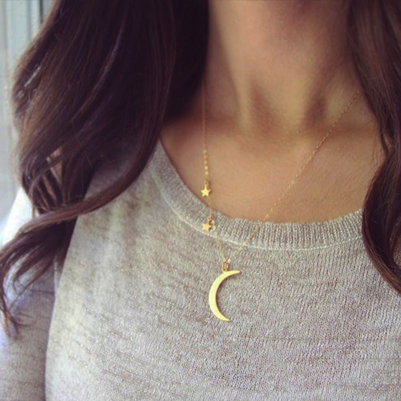 Women Silver Gold Chain Crescent Moon Star Pendant Necklace ...