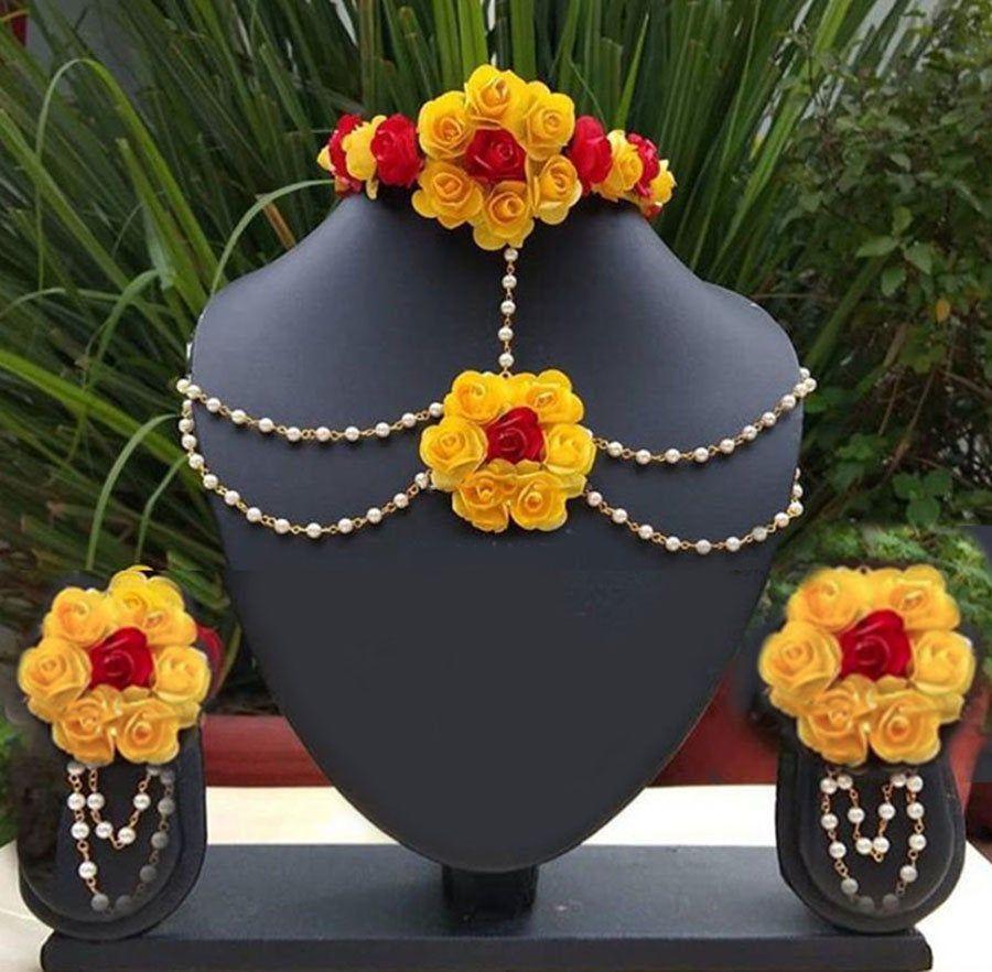 Artificial Flower Jewelery Mehandi, Sangeet, Haldi, Pre