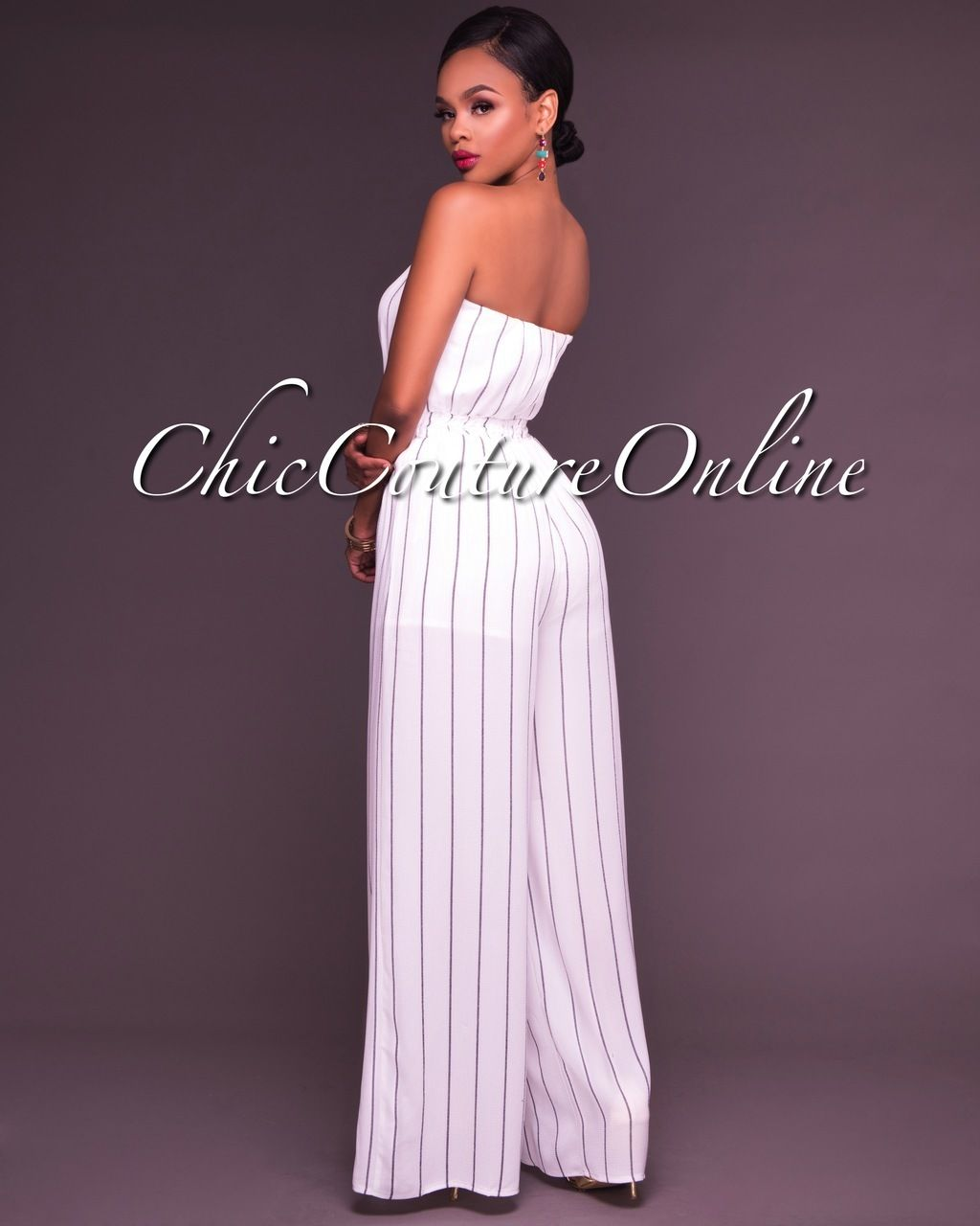 33b31b3df4d2 Chic Couture Online - Roselle White Striped Strapless Jumpsuit