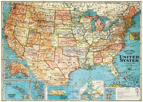 "USA Map Vintage Look Poster Print 20""x 28"" Cavallini Papers & Co. http://www.amazon.com/dp/B0024KY9RY/ref=cm_sw_r_pi_dp_JJo1tb0DJMHF8Q8F"