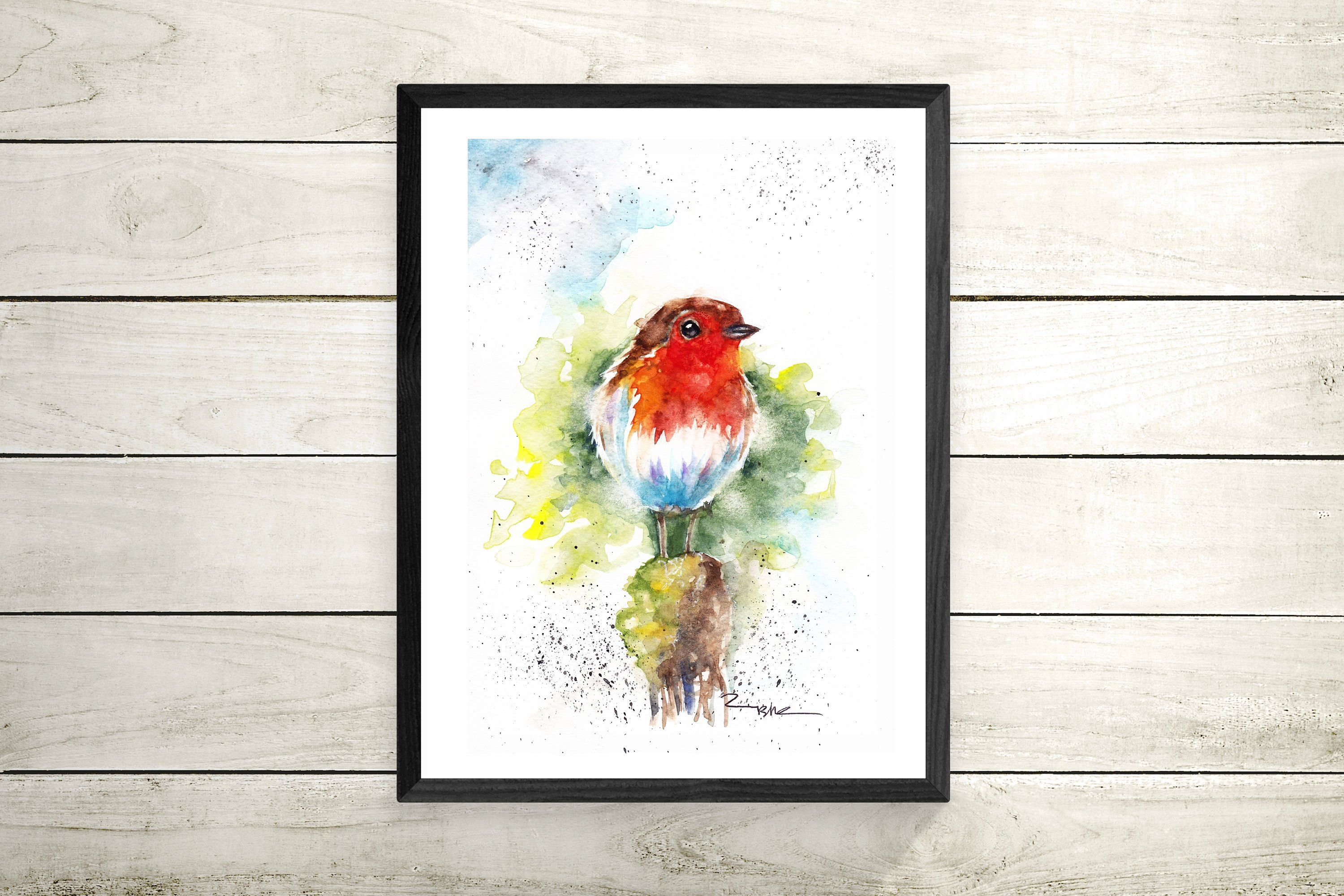Robin Wall Art Poster Nursery Prints Hanging Gift Ilration For Her Bird Nature Painting Red