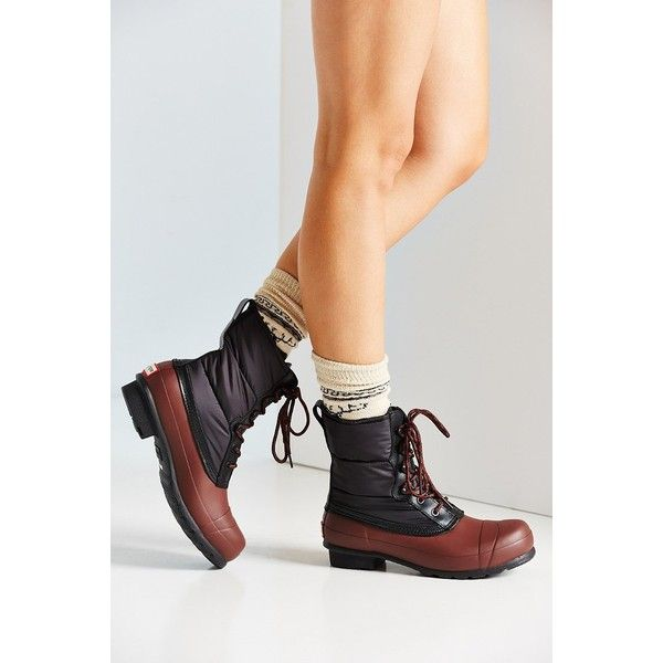 Hunter Quilted Short Lace-Up Boot ($215) ❤ liked on Polyvore featuring shoes
