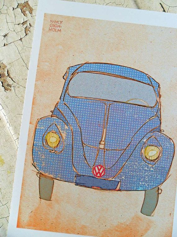 Retro car blue Volkswagen A5 reproduction by thoseparasoldays