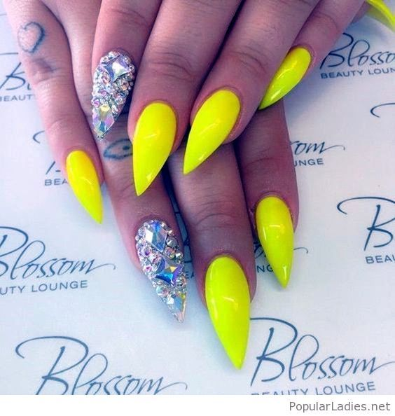 Neon Yellow And Diamonds On My Nails With Images Spring