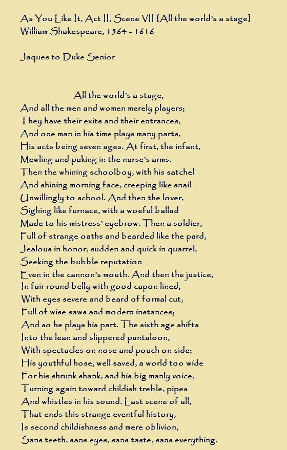 As You Like It Act Ii Scene Vii All The World S A Stage