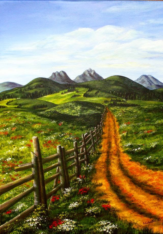 Paintings by Kika: Za dedinou / Behind the Village