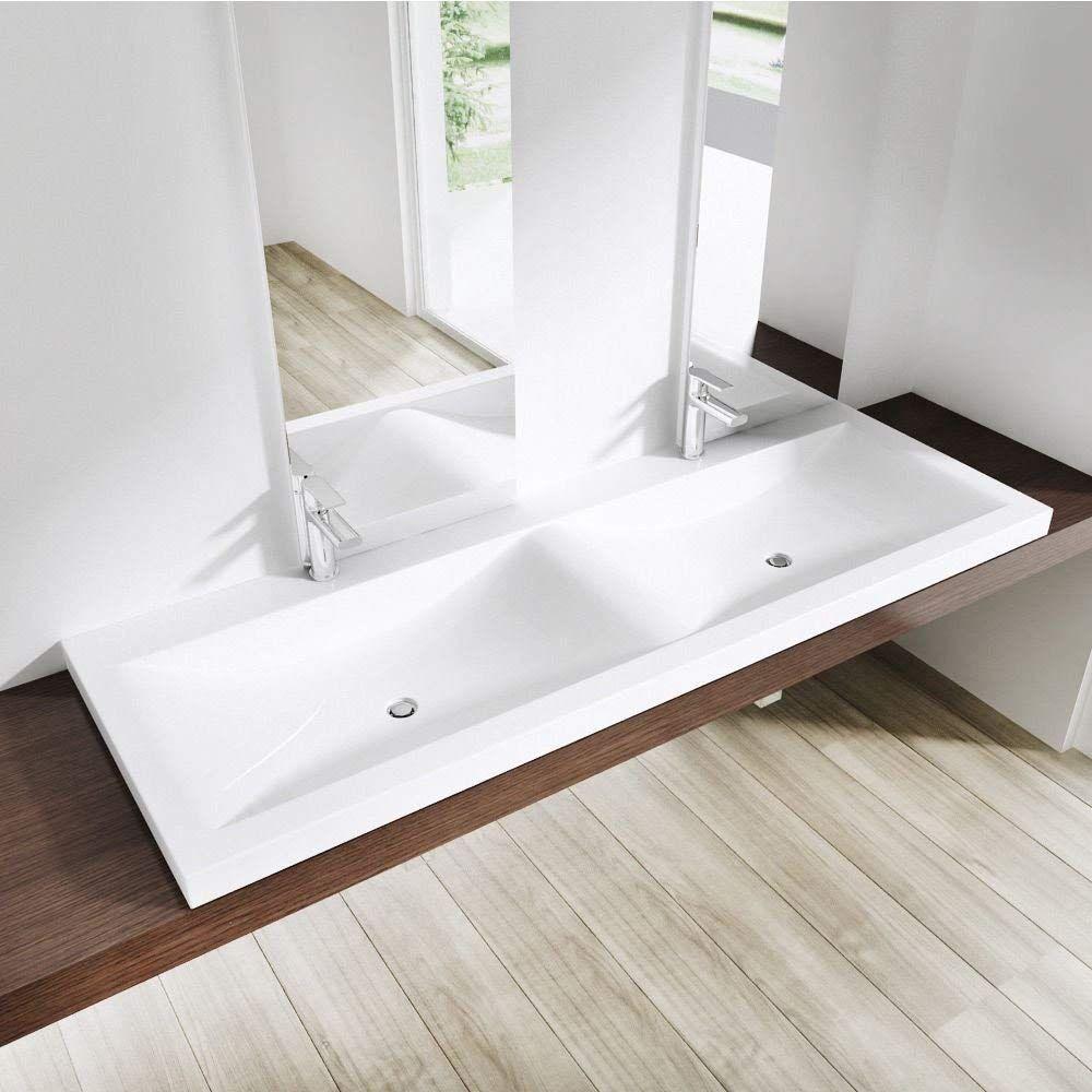 Durovin Bathrooms Luxurious Cast Stone Dual Basin Self Rimming