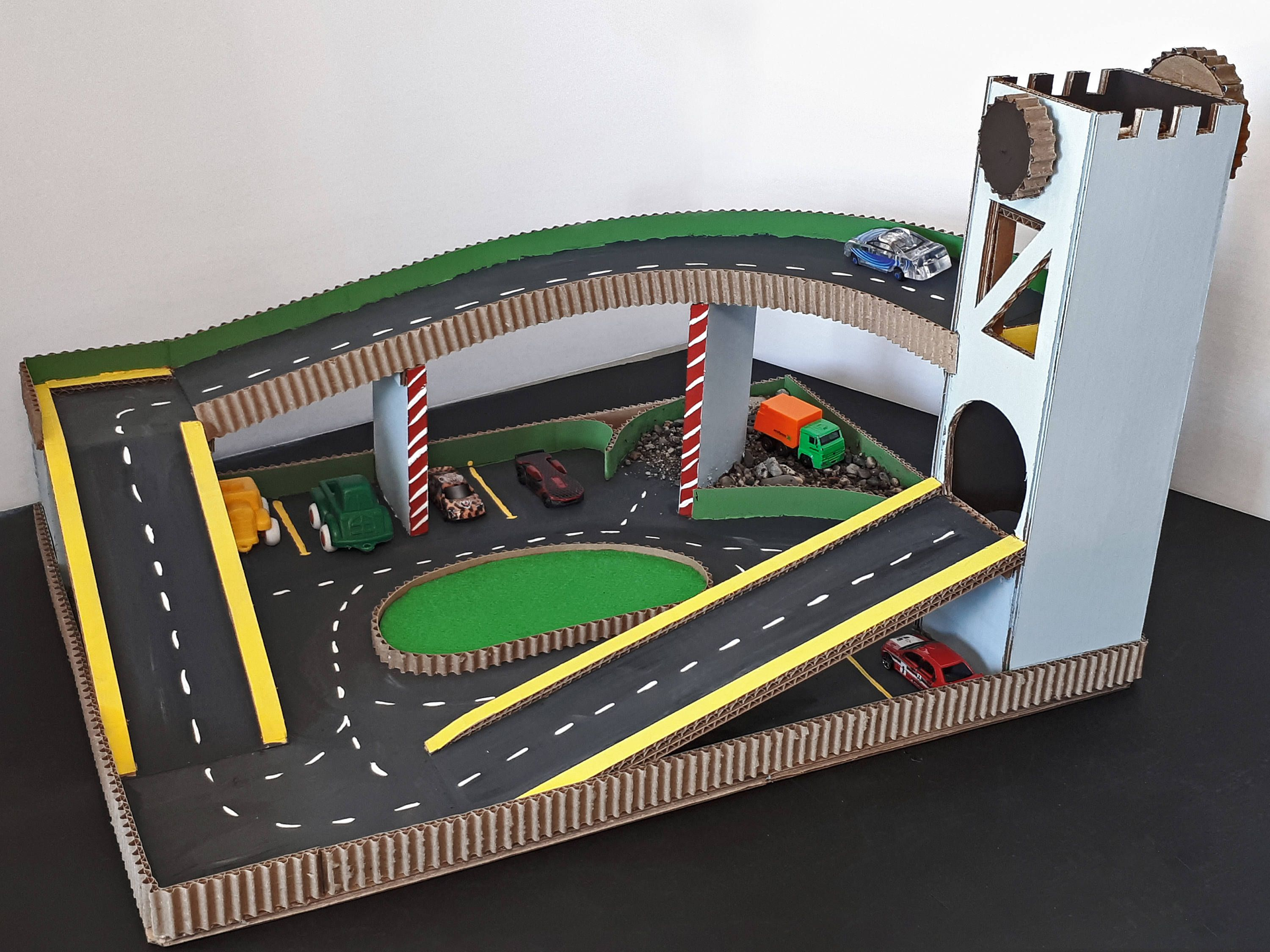 Toy Car Play Mat With Lift And Parking Hand Work