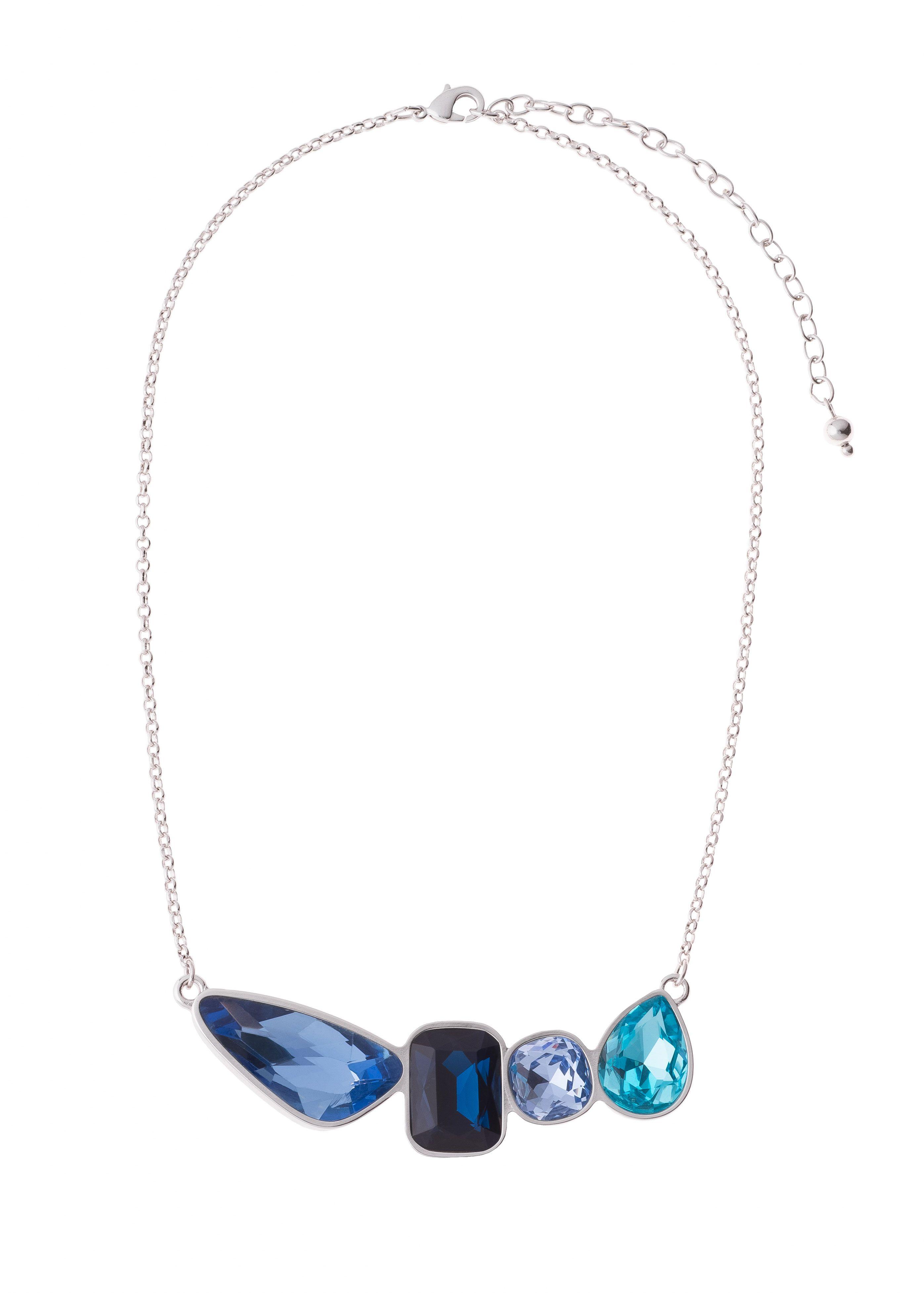 68e08c2c79dd Collar de 42cm de largo y 8cm de extensión. en baño de rodio con piedras en  tonos azules. Collar modelo 317313