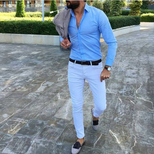 Queencaylz White Chinos Blue Chinos White Trousers Dapper Casual Wear