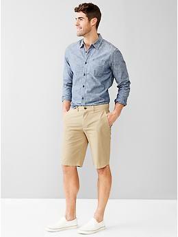 Denim long sleeve   khaki shorts / white slip-ons | Wear this ...