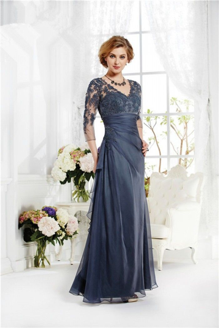 V Neck Sheer Long Sleeve Navy Blue Chiffon Lace Mother Of The Bride ...
