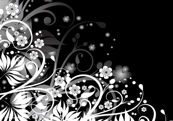 Abstract Black White Floral Design Colour Black Size 16 X 32