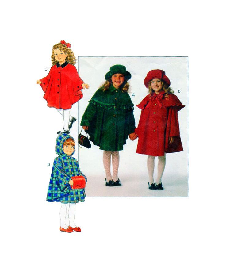 Butterick 3041 Girls Cape, Capelet & Hat Sewing Pattern Button Front ...