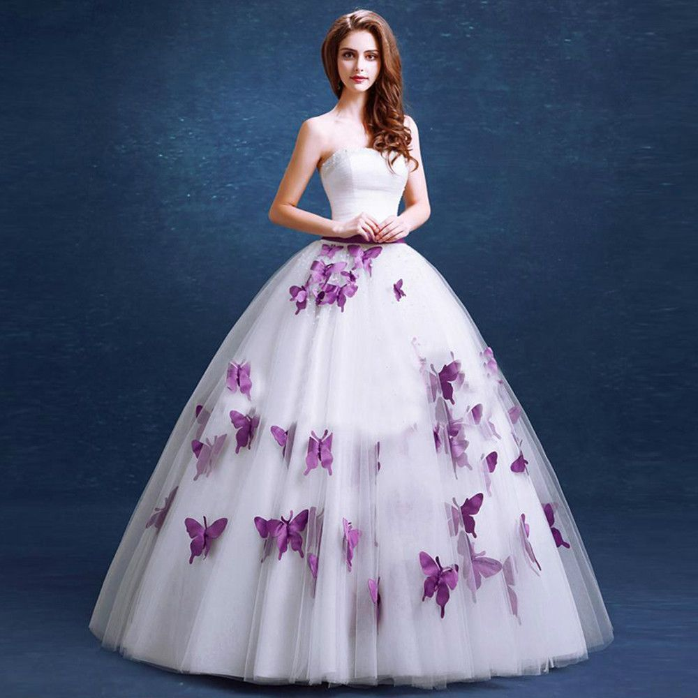 Elegant purple wedding dress 2016 fashionable butterfly for Wedding dresses with purple trim